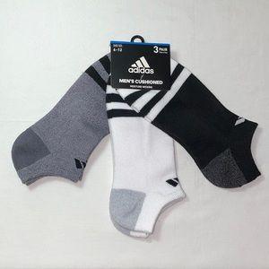 New Adidas Men's No Show Classic Logo Socks 3pk